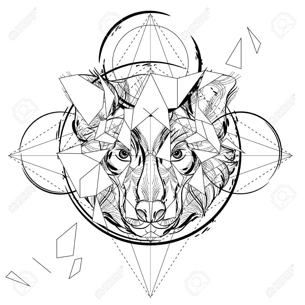 Cabeza De Animal Icono Triangular, Diseño De La Línea De Moda ...