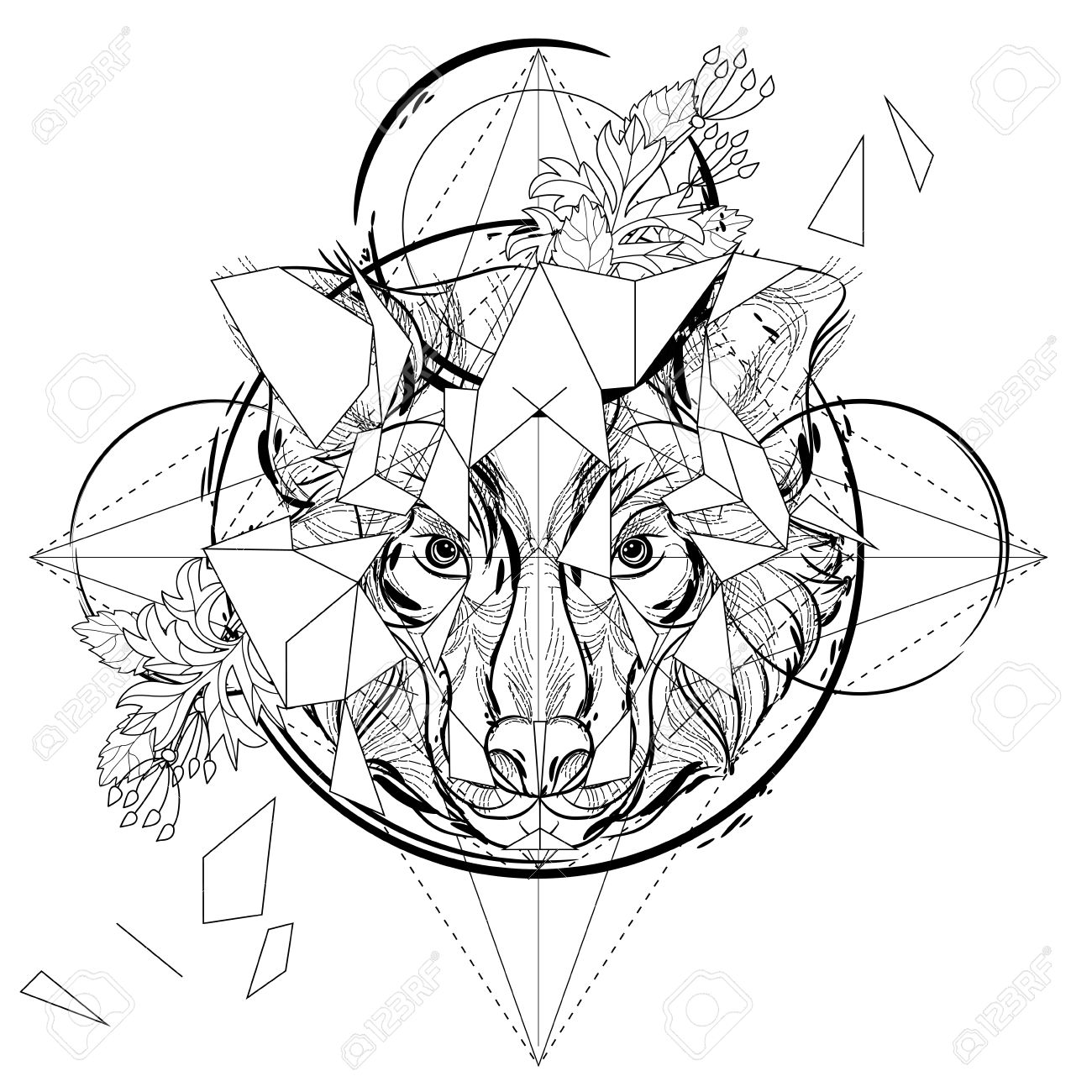 Animal head triangular icon , geometric trendy line design. Vector illustration ready for tattoo or coloring book. Wolf head low-poly sketch. - 54270417