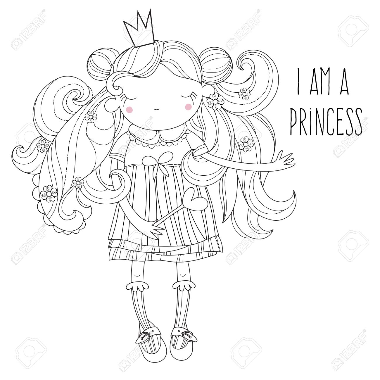 vector cute princess fairy in crown vector line illustration
