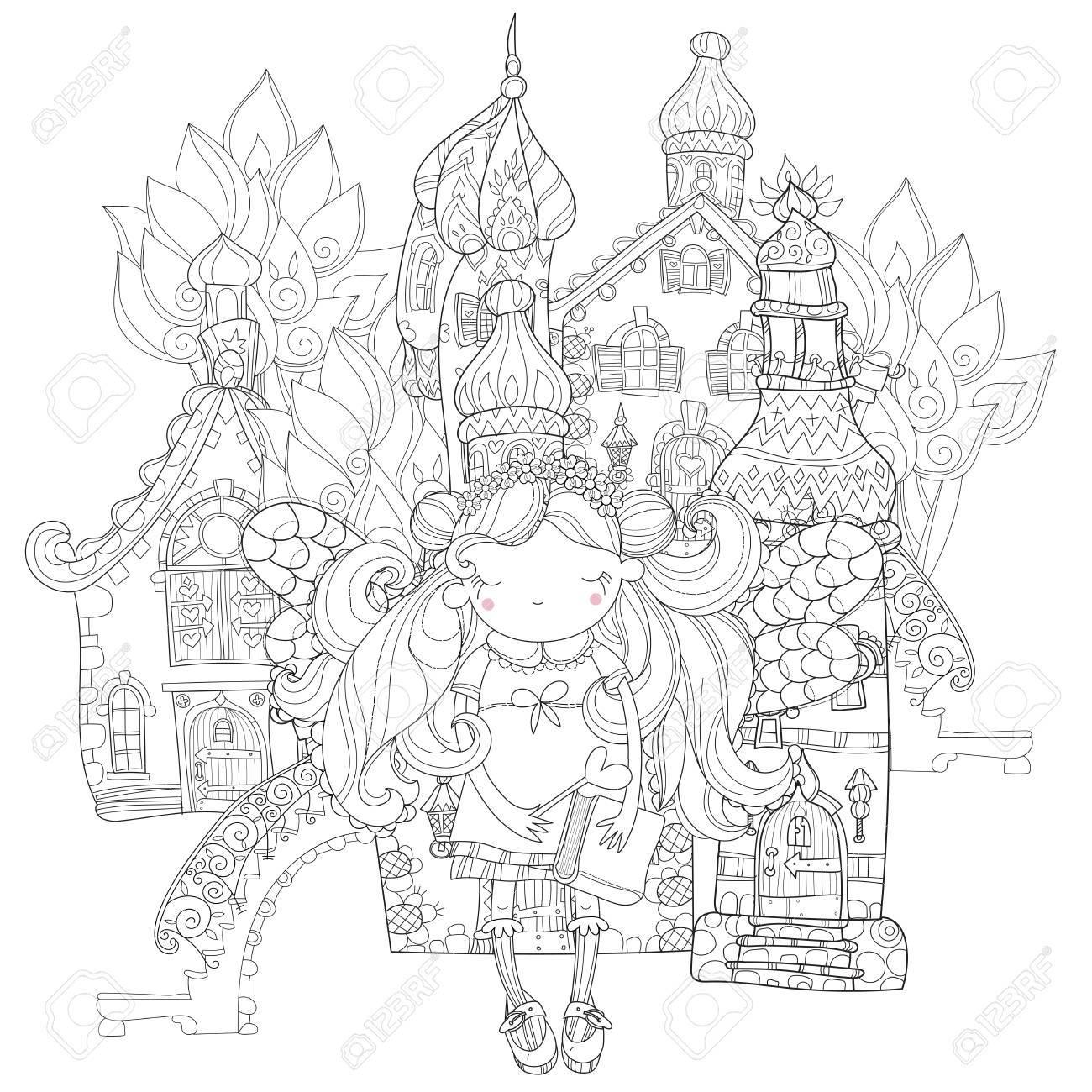 花の冠で翼を持つベクトルかわいい姫妖精の女の子古い妖精の町シティ