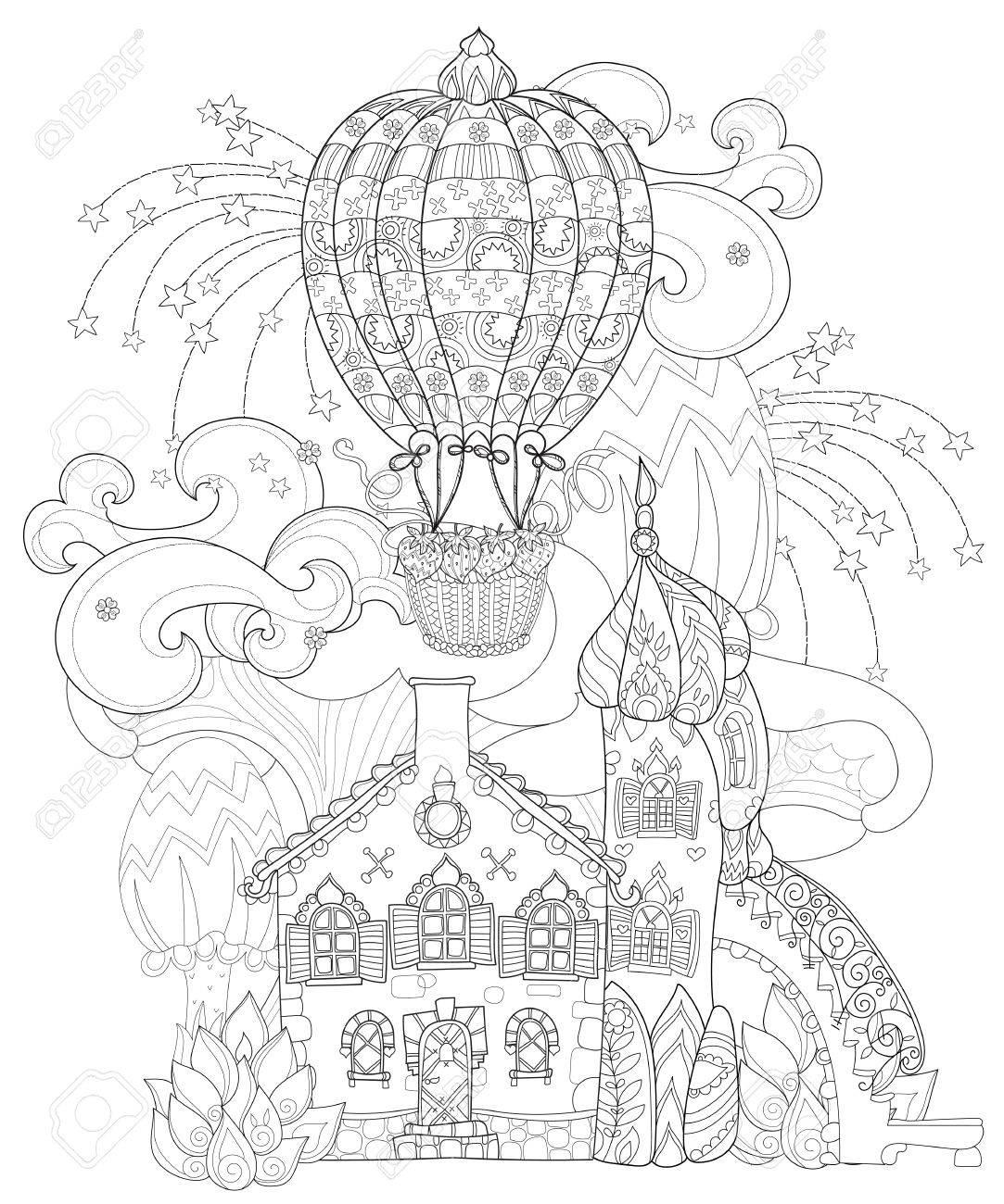 Vettoriale Carino Fiaba Citta Doodle Con Funghi E Palloncino Bozzetto Per Cartolina O Di Stampa O Libro Da Colorare Per Adulti Image 54570633