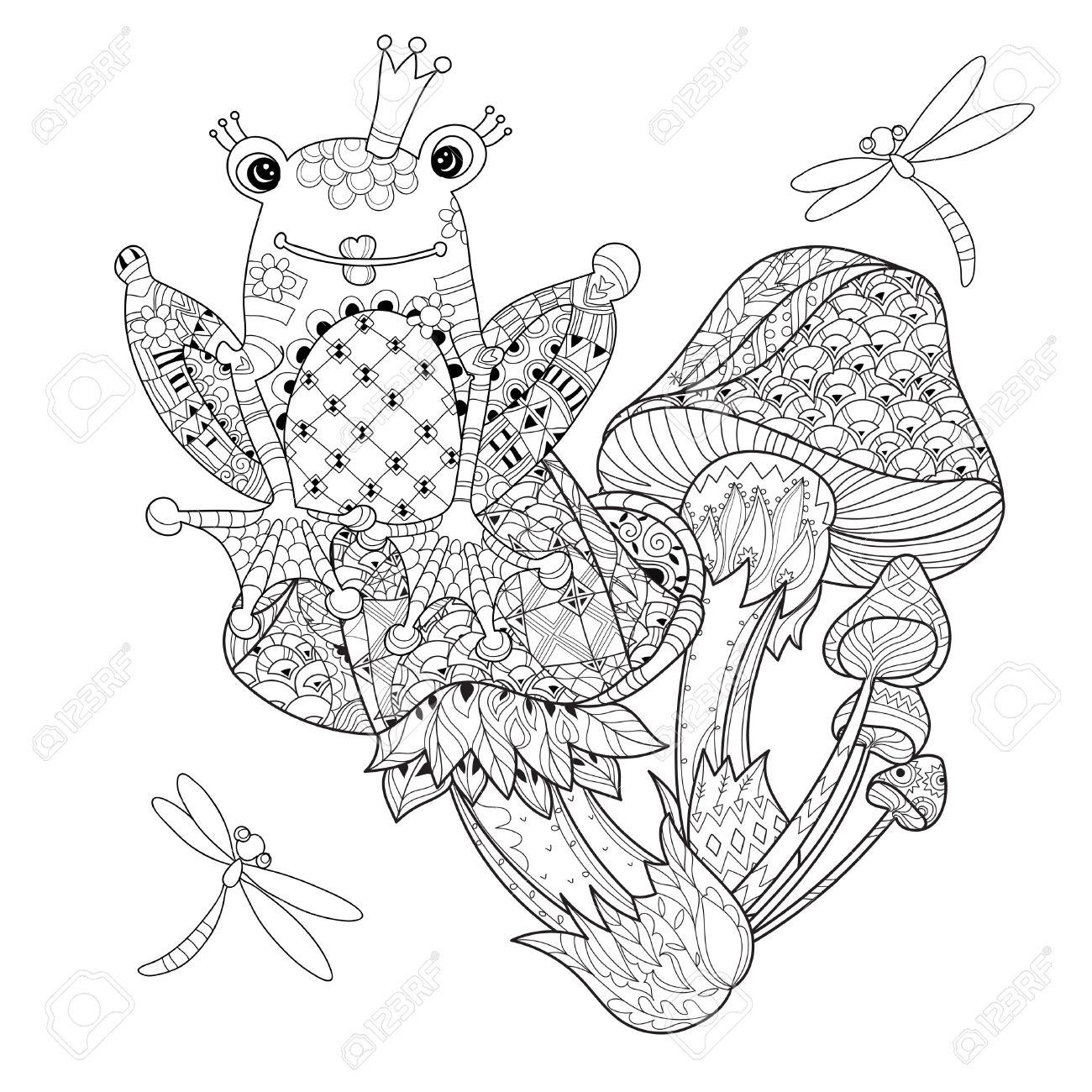 Dibujado A Mano Contorno Doodle De Los Hongos Mágicos Y Princesa De ...
