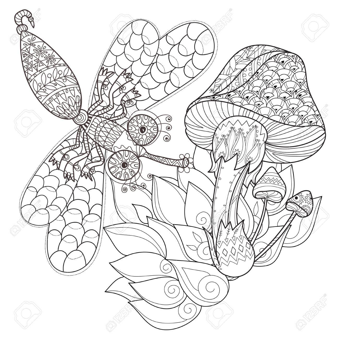 Hand Gezeichnet Doodle Umriss Magische Pilze Und Libelle Mit ...