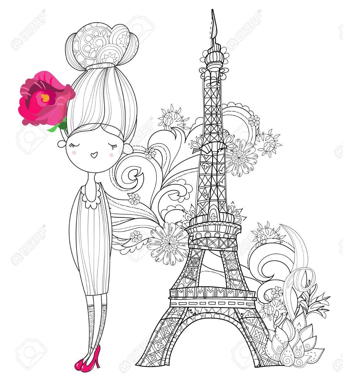 Vector Cute Mode Mädchen In Paris.Vector Linie Illustration.Sketch ...