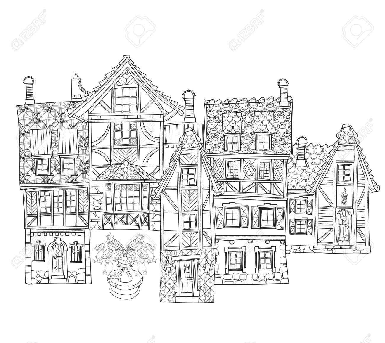 Vector Cute Fairy Tale Ligne Ville Doodle Vector Illustration Sketch Pour Carte Postale Ou Imprime Ou Un Livre A Colorier Pour Adultes