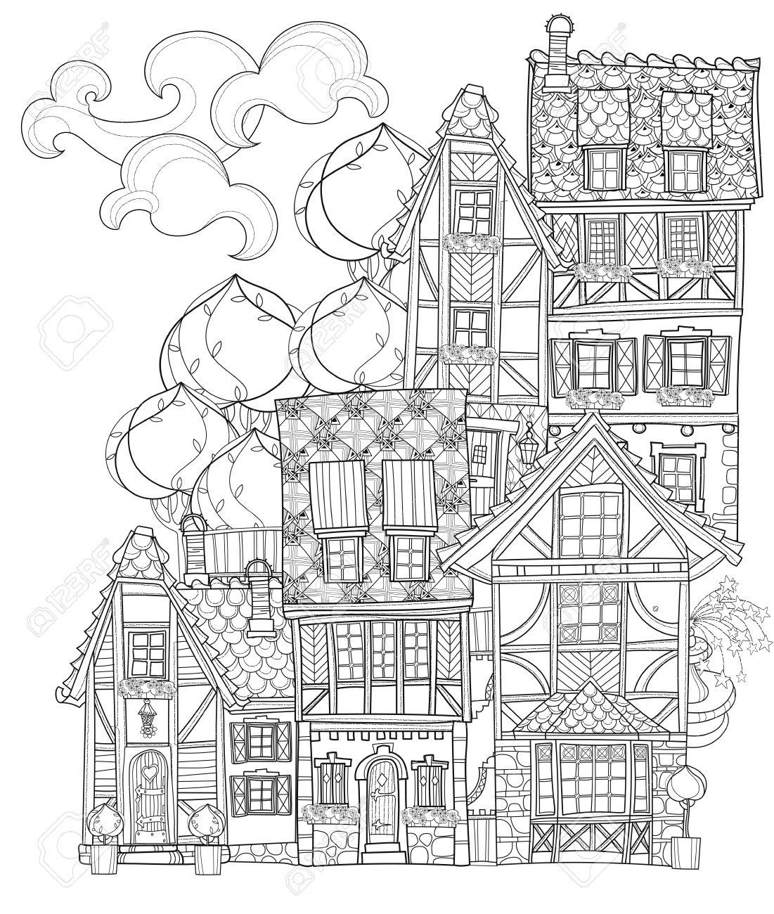 ベクトルかわいいおとぎ話町の落書きベクトル線図はがき印刷や大人の