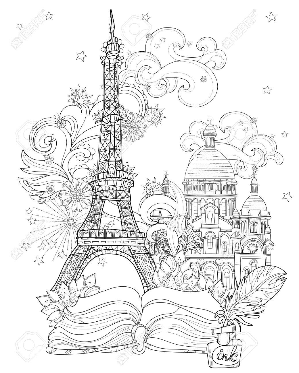 Arte Zen Estilizada Torre Eiffel Dibujados A Mano Ilustración Vectorial De Magicsketch Historia Para El Cartel Niños O Adultos Páginas Para