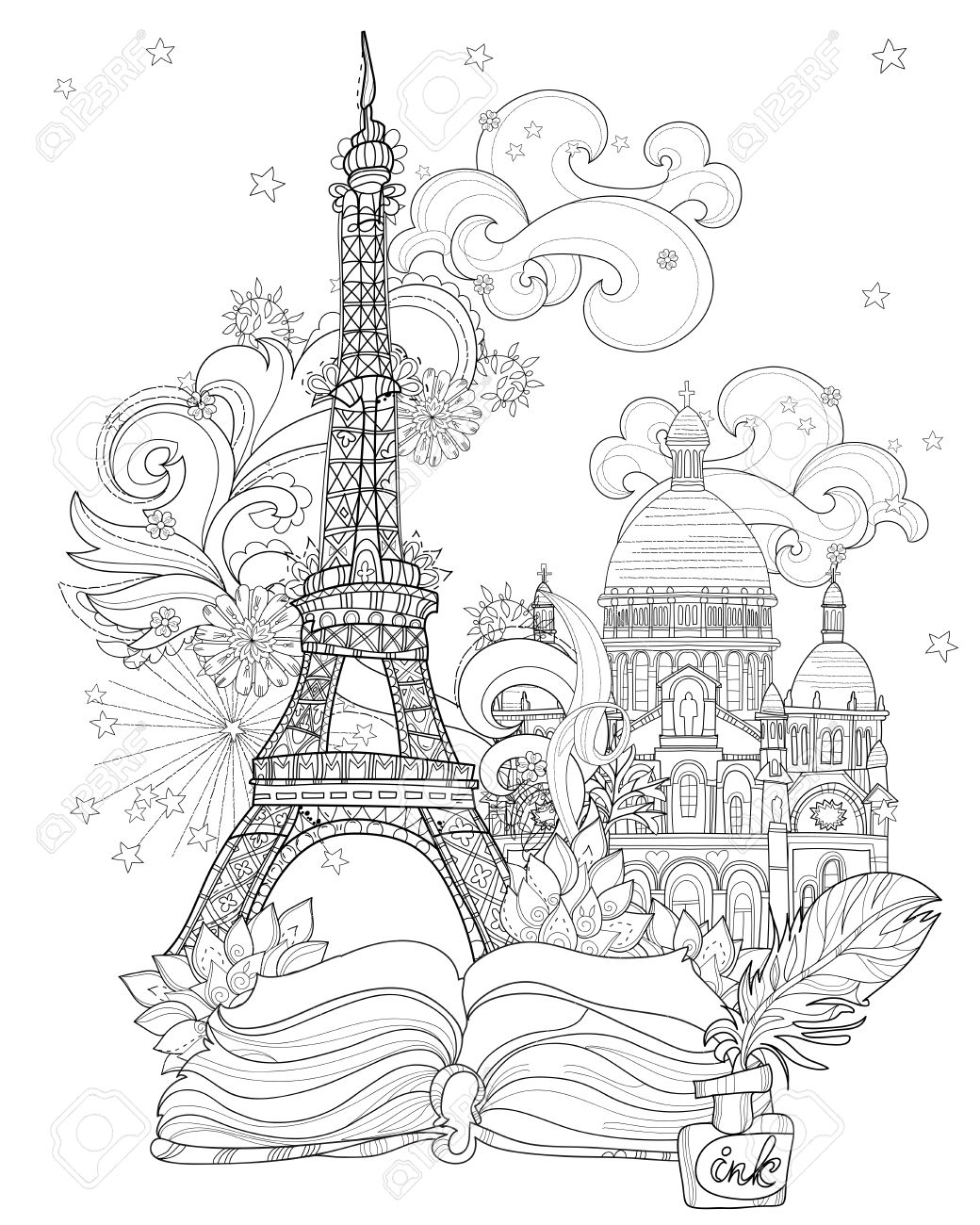Zen Kunst Stilisierte Eiffelturm Hand Gezeichnete Vektor ...