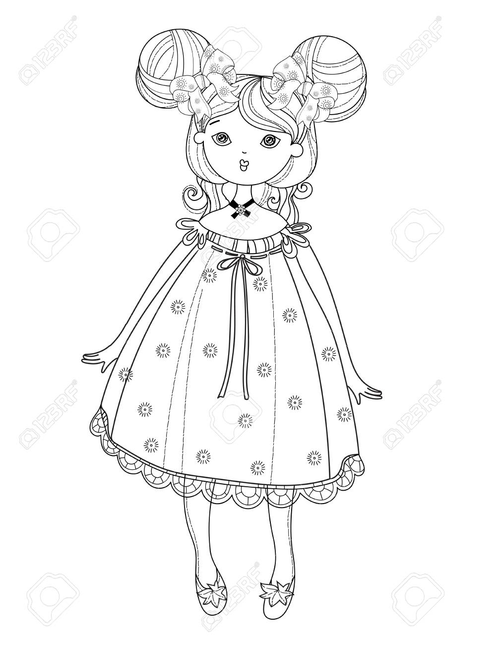 素敵なドレスでベクトルのかわいい妖精の女の子ベクトル線図はがき