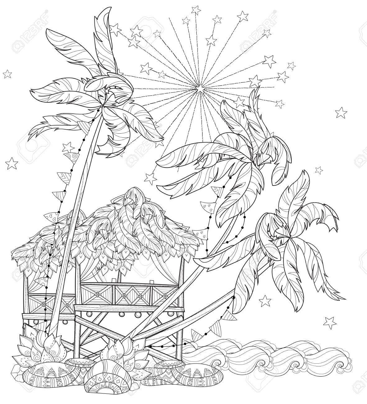 hand drawn doodle outline palm tree fairy cartoon city