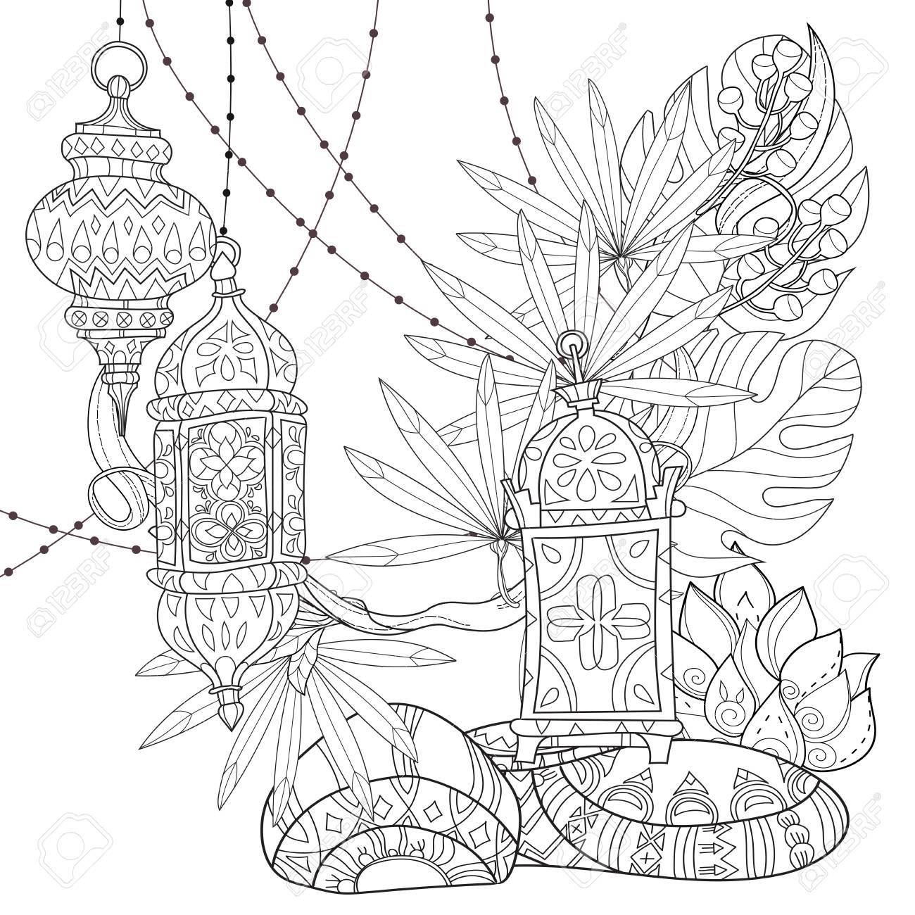 Festivo Hanging Acuarela árabe Lámparas Tai. Tarjeta De Felicitación ...