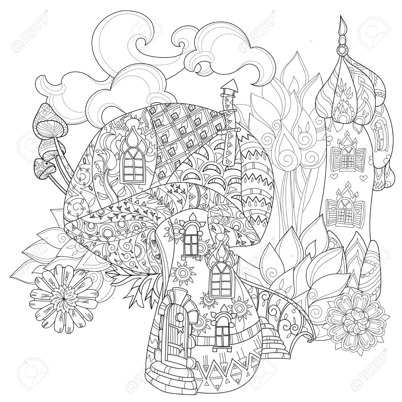 hand drawn doodle outline magic mushrooms and fairy house