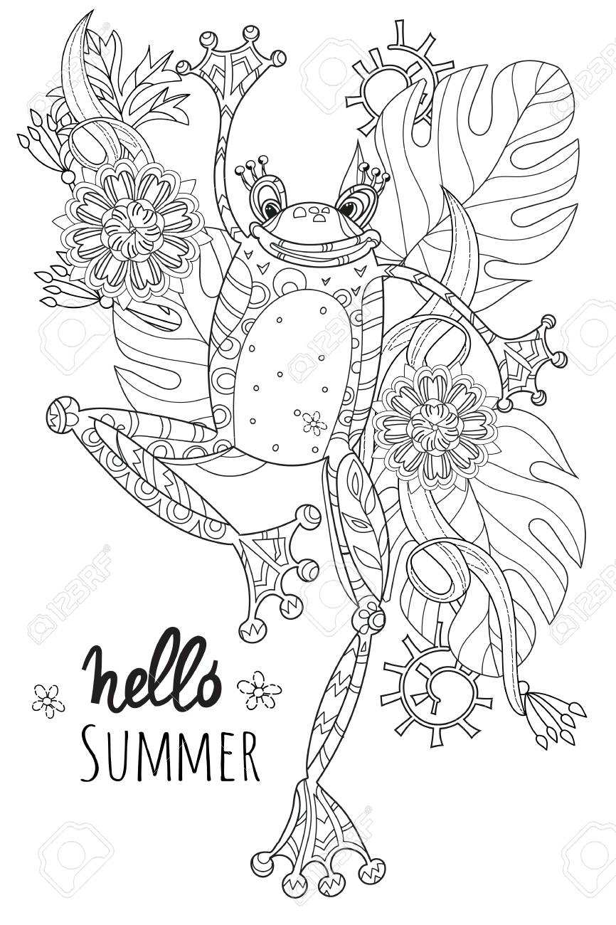 Netter Frosch-Prinz Im Sommer Flowers.Illustration Zen Kunst ...