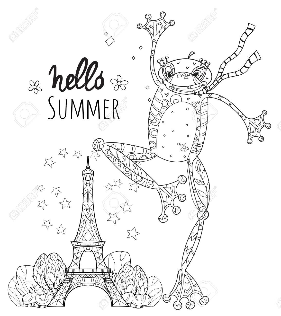 パリのかわいいカエルの男の子禅イラスト分離された塗り絵の準備ができ