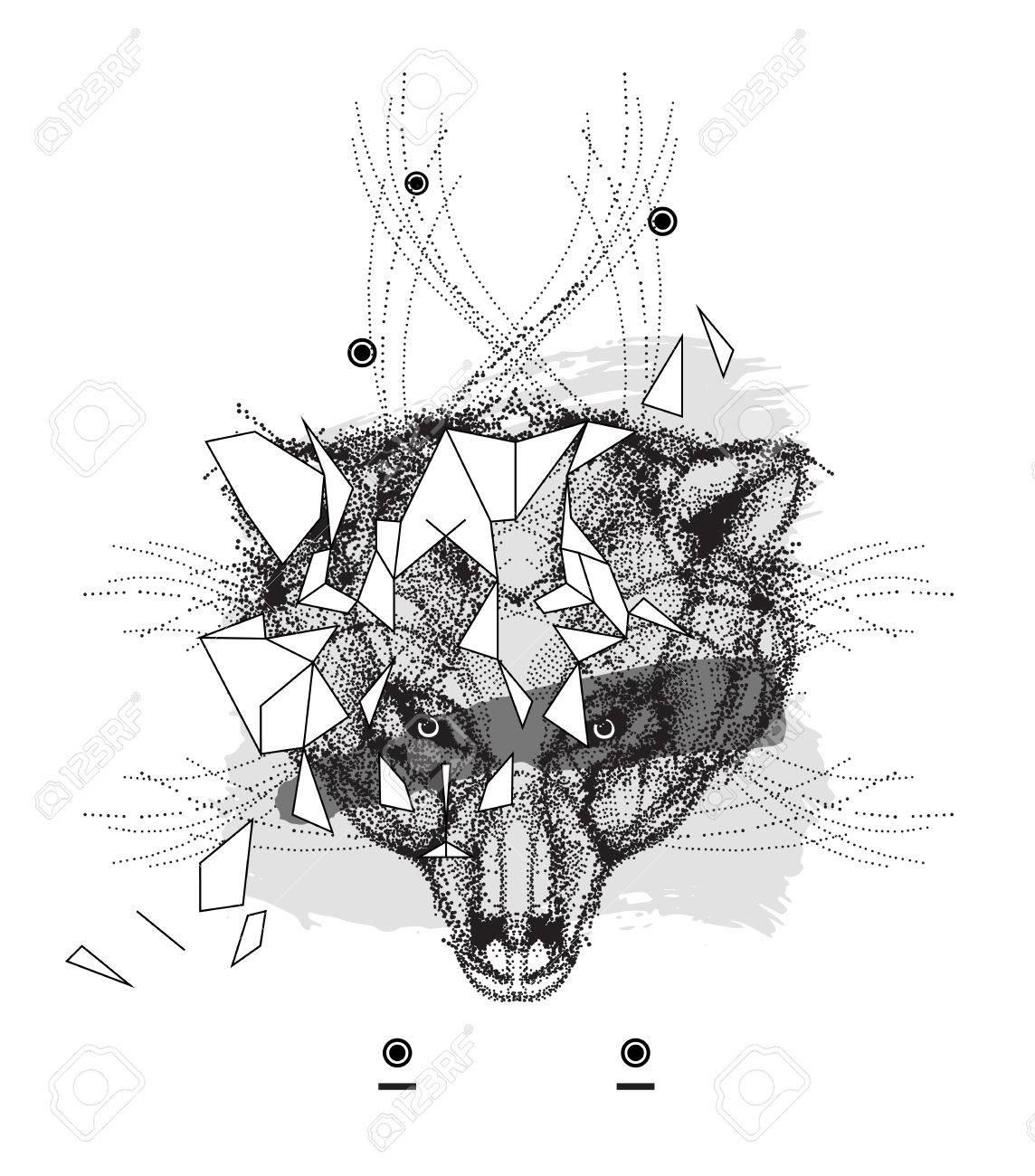 Cabeza De Oso Animal Icono Triangular, Diseño De La Línea De Moda ...