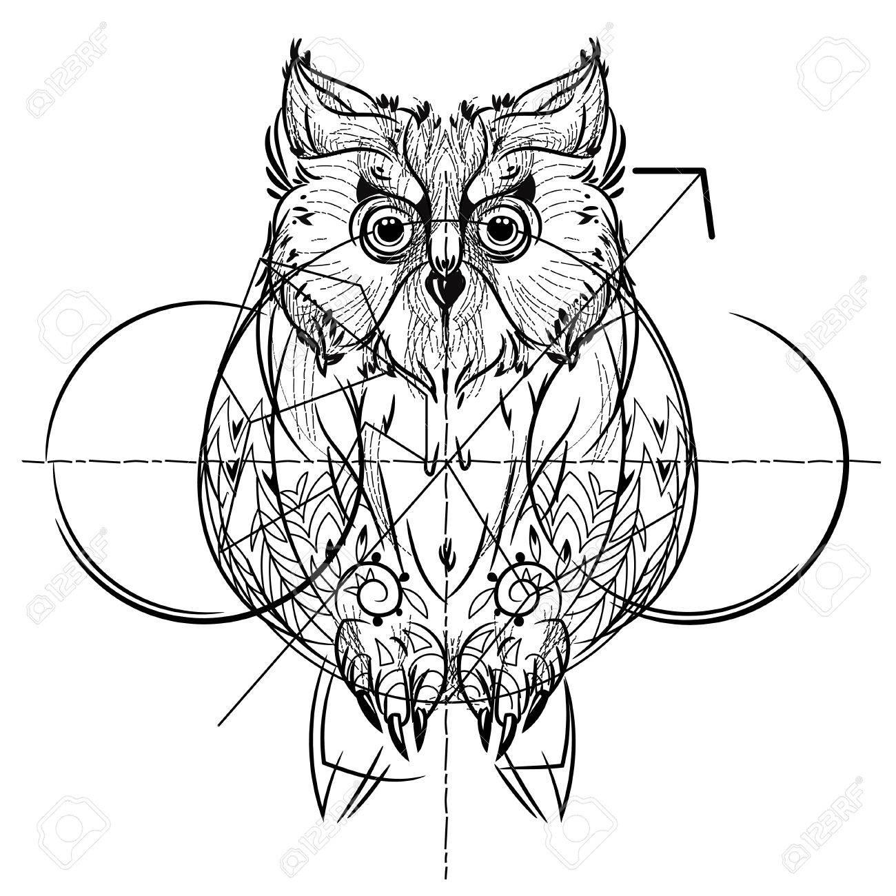 Vista Frontal Pájaro, Diseño De La Línea De Moda Geométrica ...
