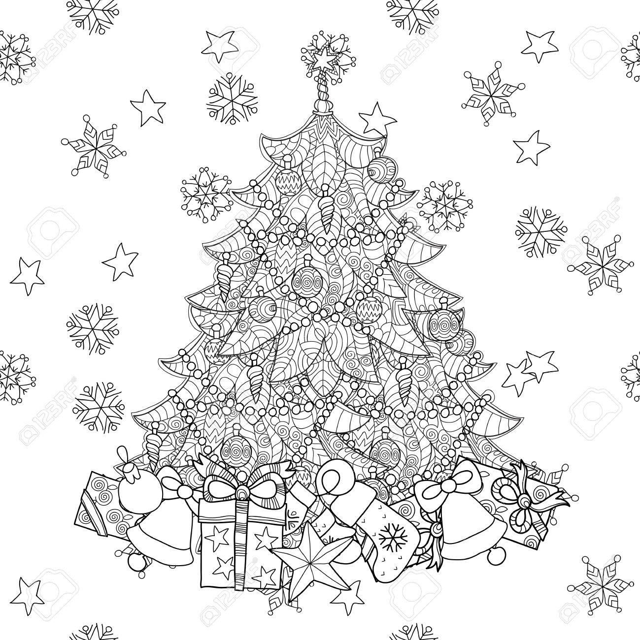 Sapin De Noël Avec Des Cadeaux. Main Doodle Dessiné Art.Adult Zen