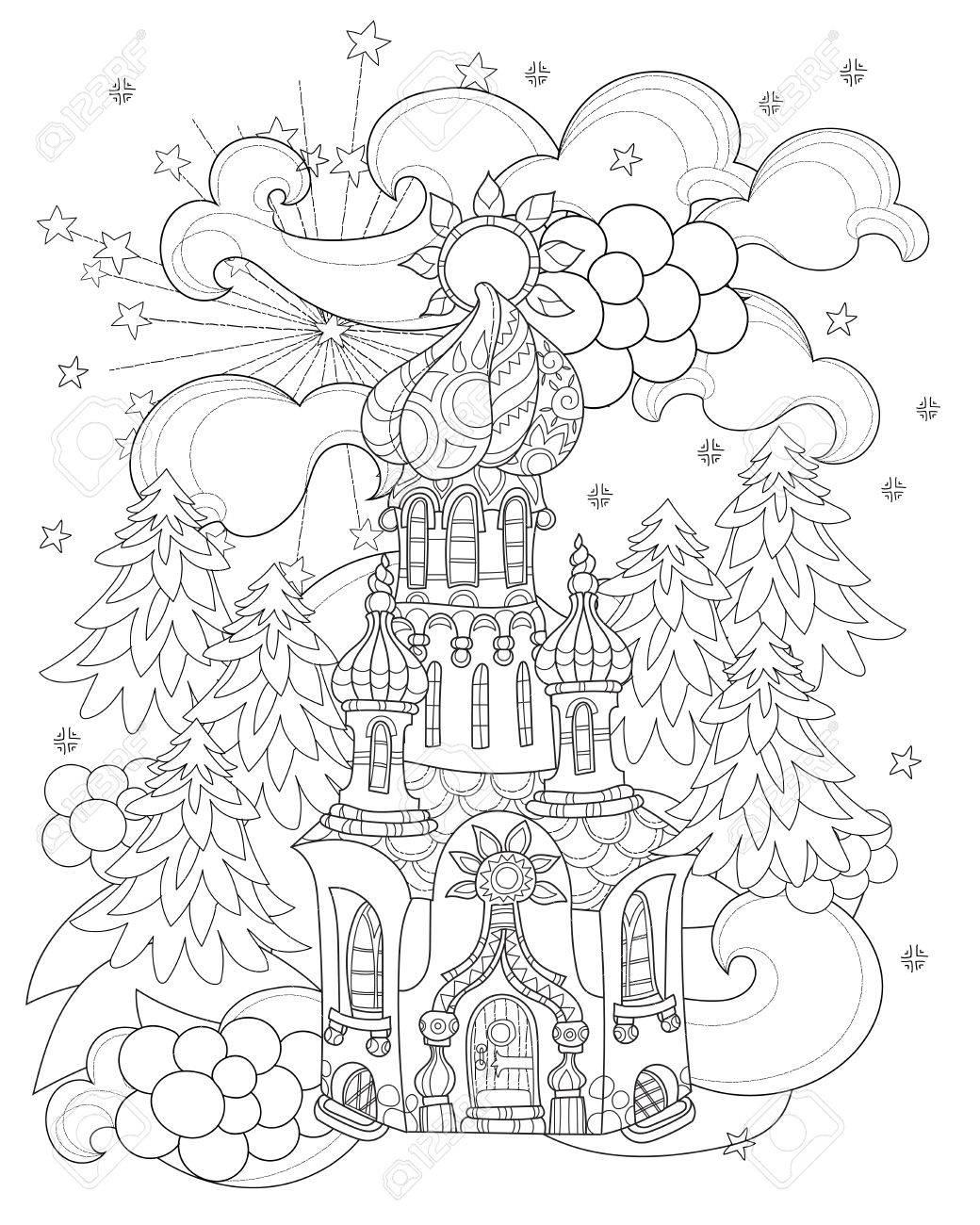 Vector Cute Ville Conte De Fées De Noël Doodle.Hand Ligne Tracée ...