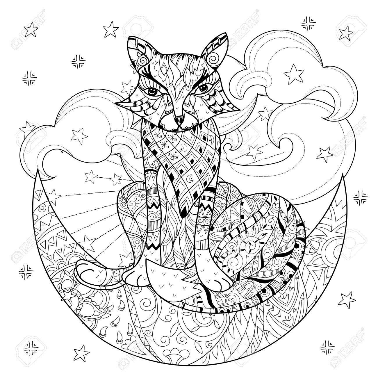 Renard Mignon Sur Demi Lune De Noel Avec Des Etoiles Main Doodle