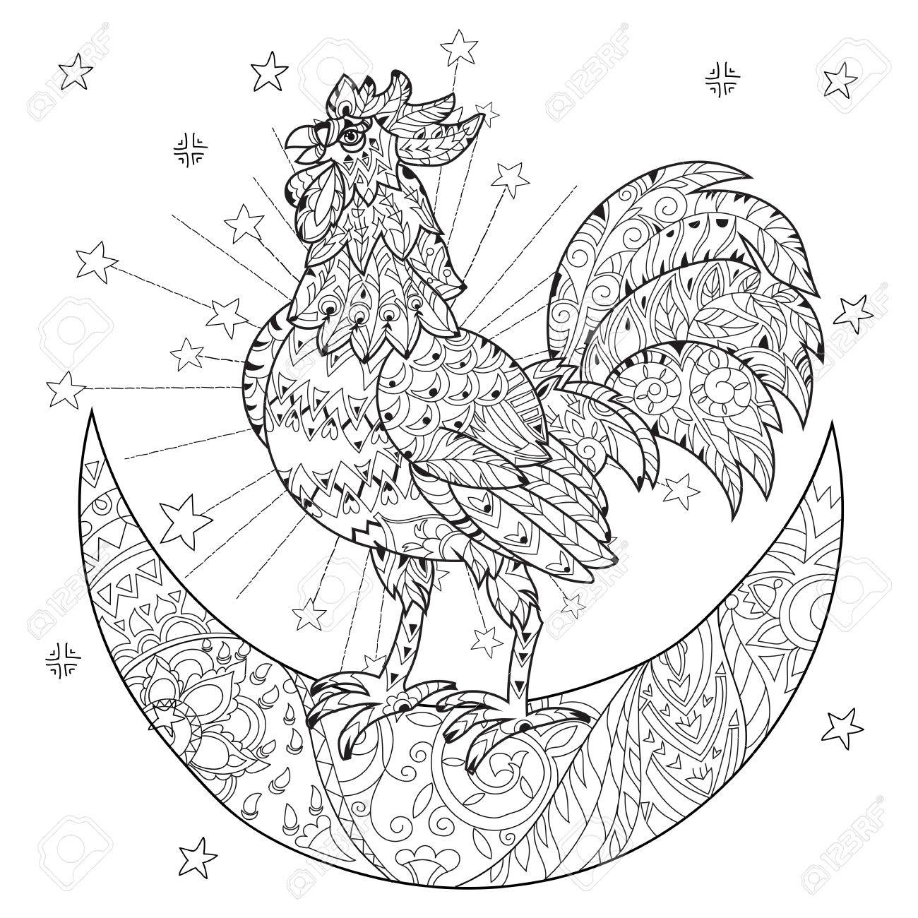 Coq Mignon Coq Sur Demi Lune De Noel Avec Des Etoiles Et Des Fleurs