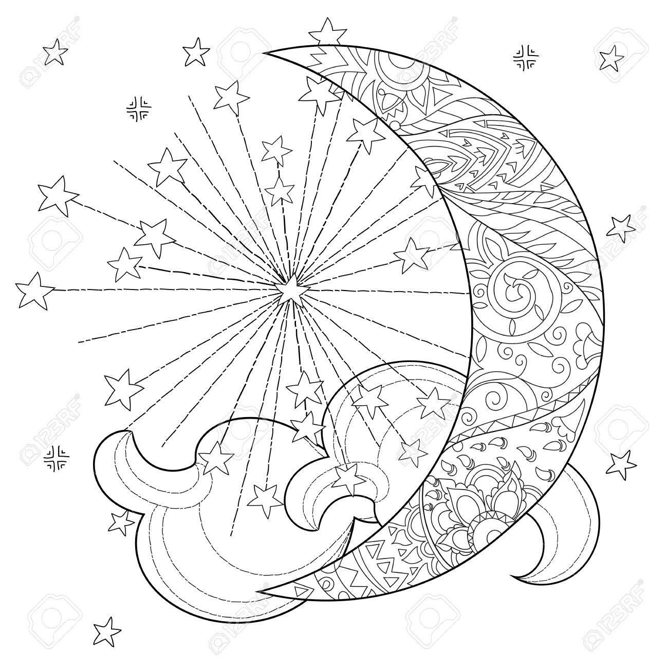 Media Luna De La Navidad Con Las Estrellas. Mano Doodle Art.Adult ...