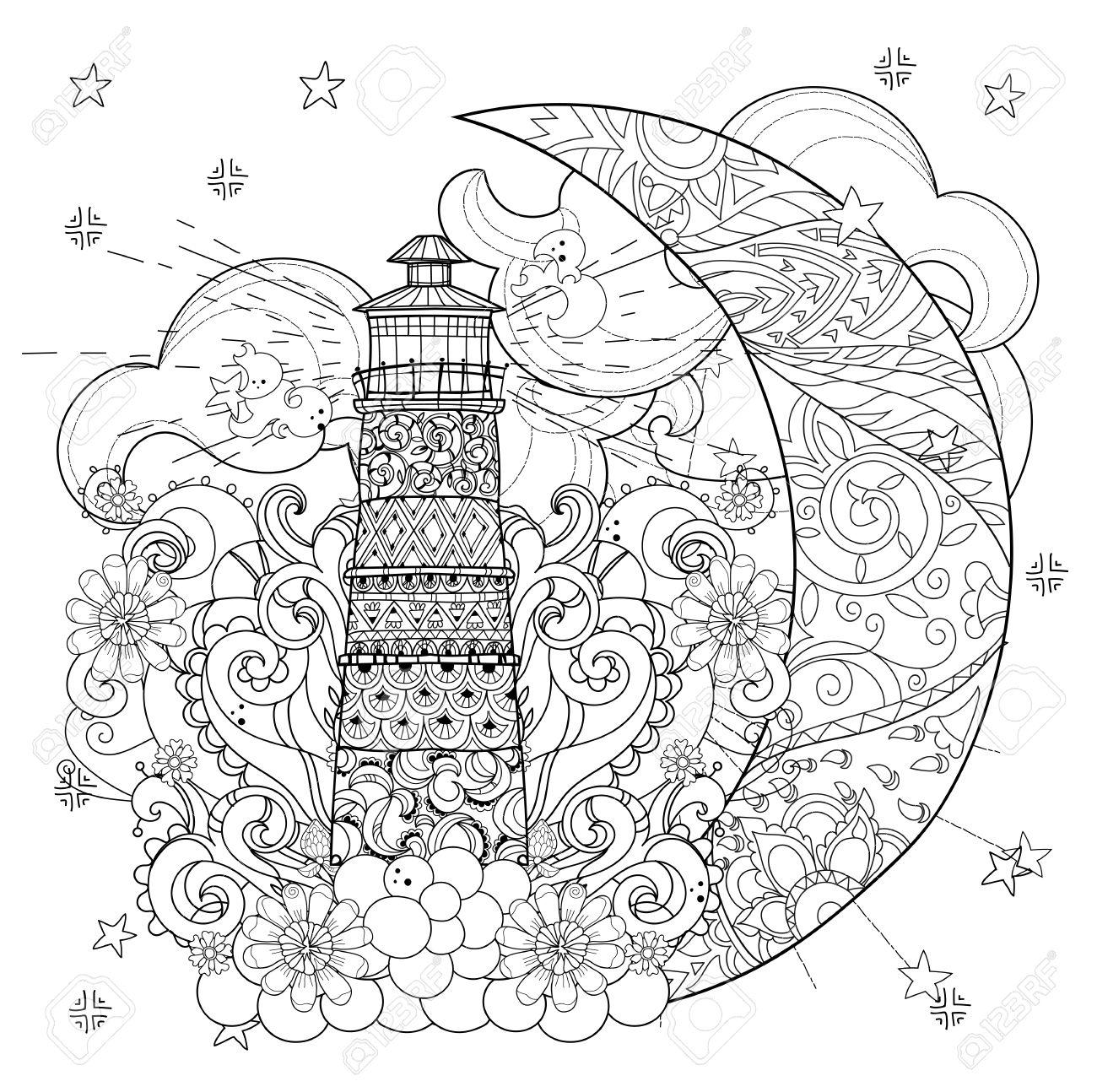 Phare Mignon Sur Demi Lune De Noel Avec Des Etoiles Et Des Fleurs