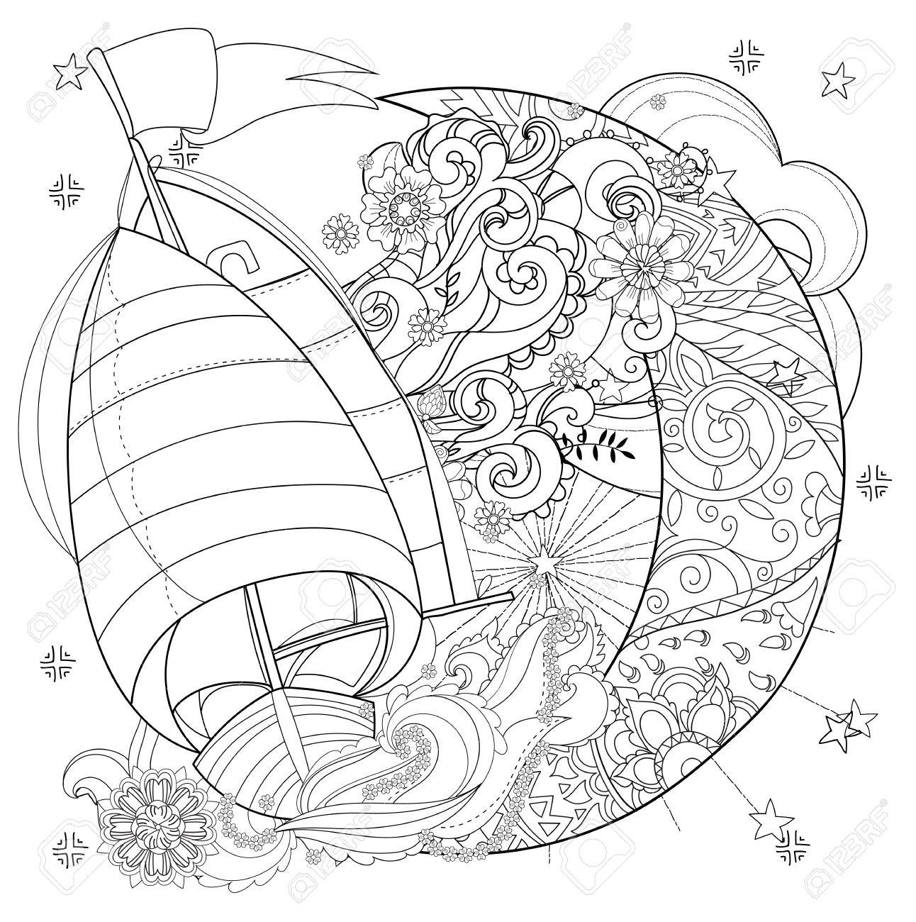 Bateau Mignon Bateau Sur Demi Lune De Noel Avec Des Etoiles Et Des