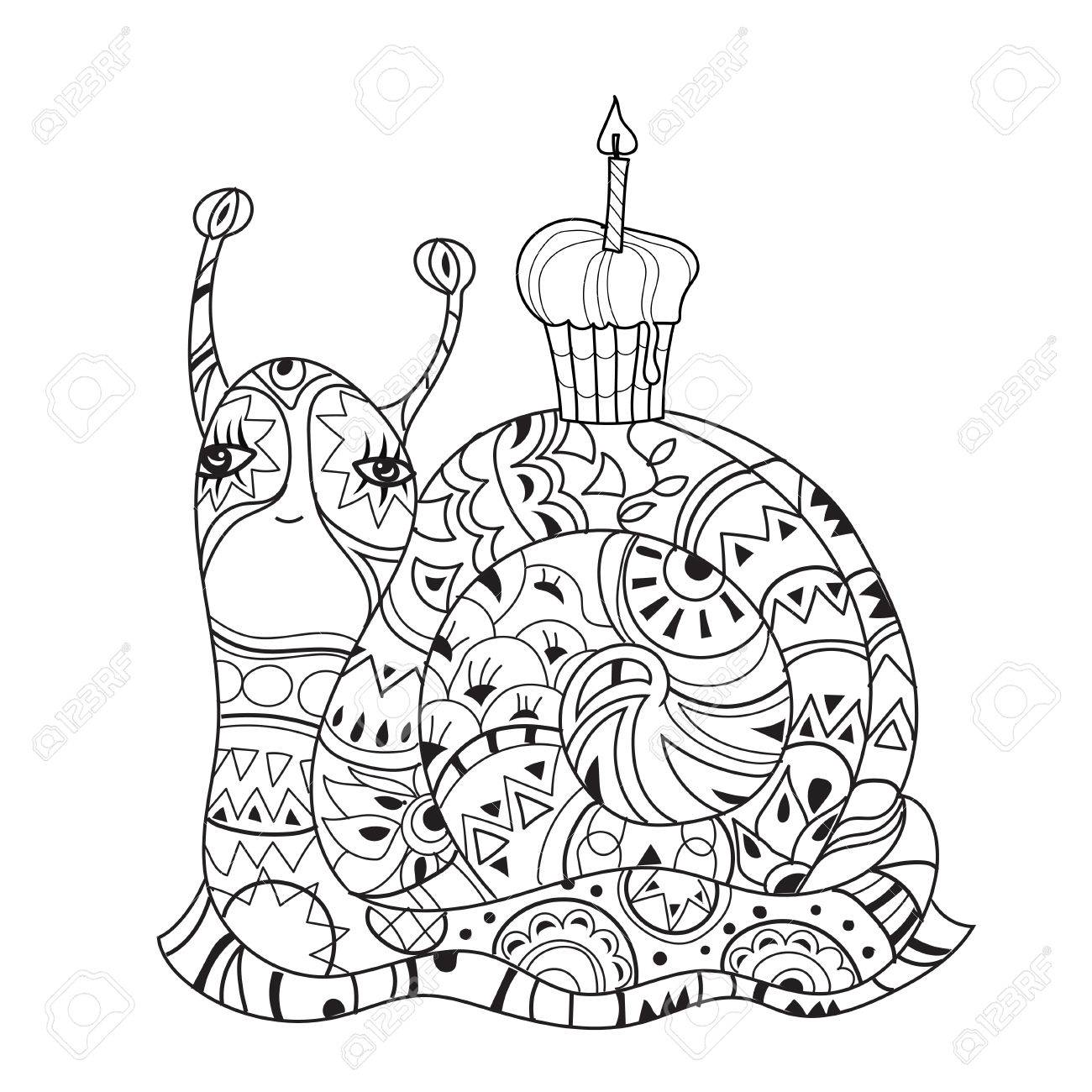 100 birthday cake drawing for birthday cake colouring pages draw cupcake with cherry cakes step by step zen art stylized snail with birthday cake hand drawn vector sciox Image collections