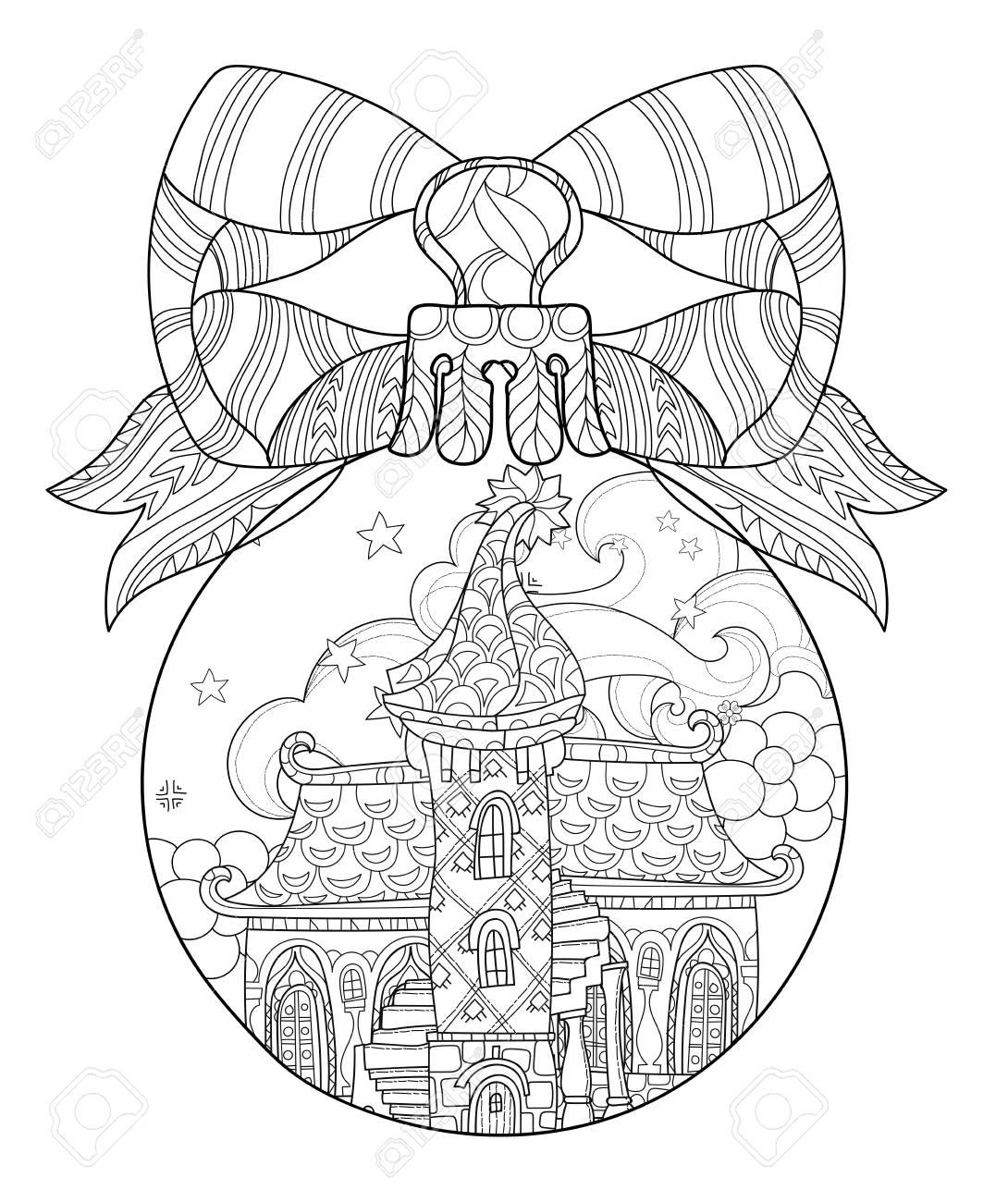 Vector Cute Märchenstadt Doodle In Weihnachten Tanne Ball.Hand Linie ...