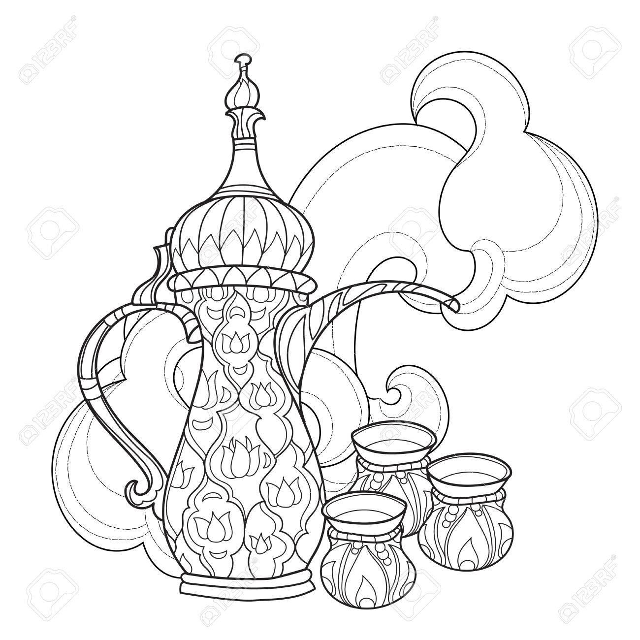 Arabic coffee maker dalla with cups. Greeting card or invitation,..