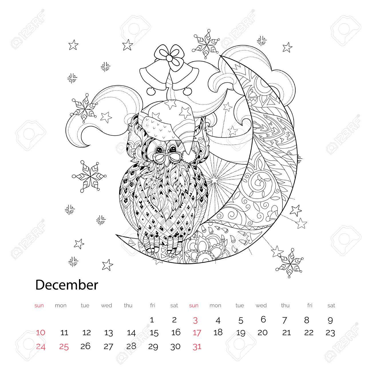 Búho Lindo En La Media Luna De La Navidad Con Las Estrellas Y Las Flores Mano Doodle Artadult Zen Anti Stress Libro Para Colorear O Boho Tatuaje