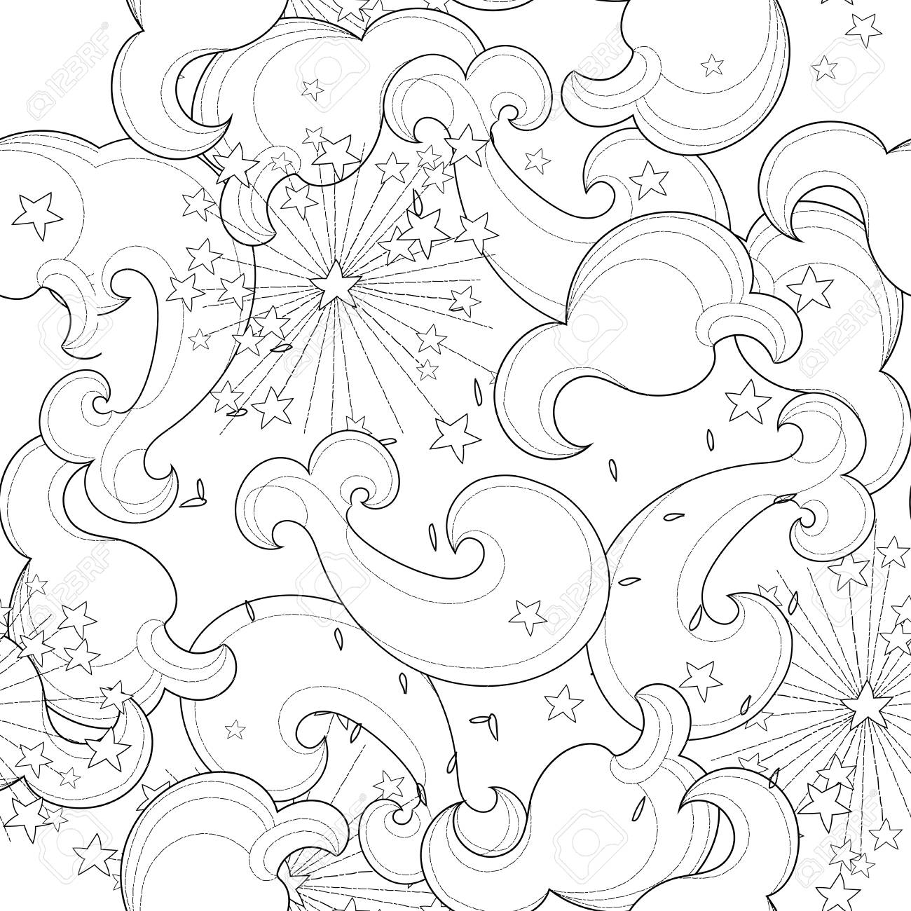 Hand drawn doodle outline cloud seamless pattern Vector zen art