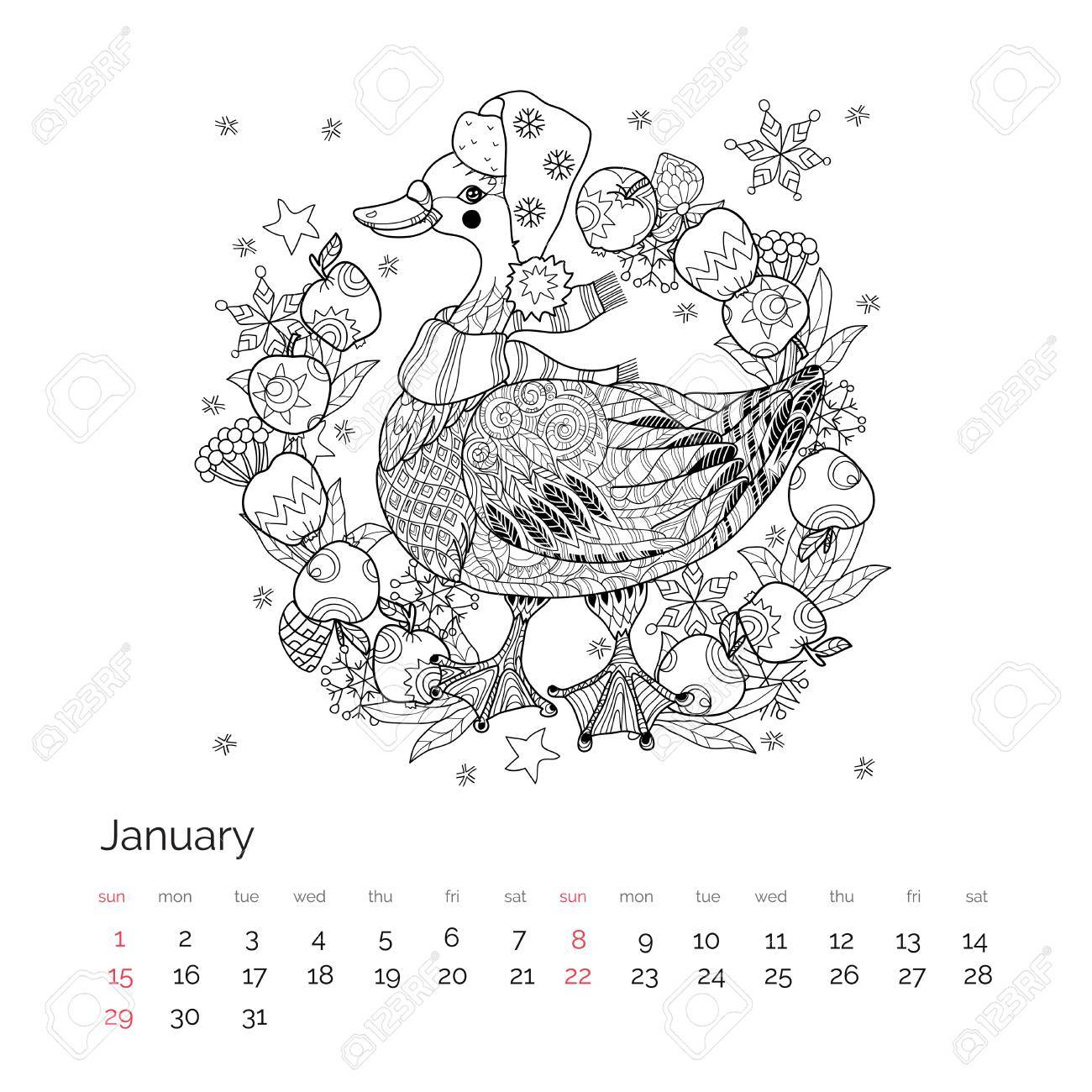 Relax With Art Calendar : Christmas goose in funny hat doodle with frame apples bird zen