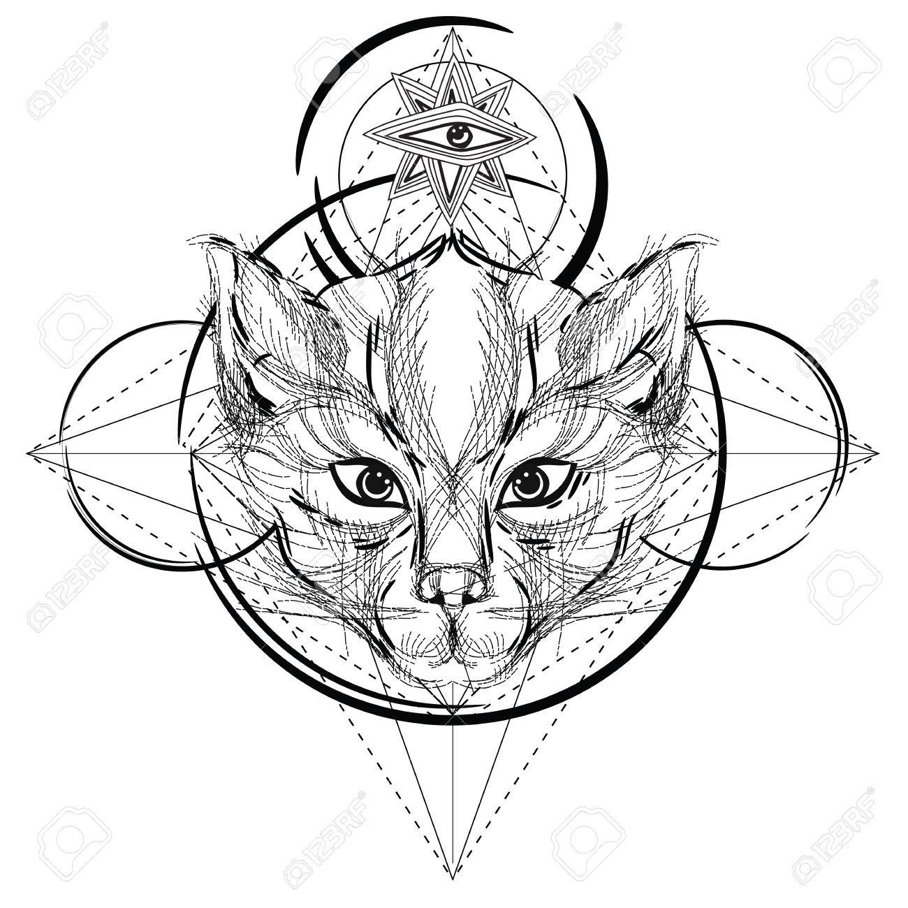 Coloriage Anti Stress Mode.Icone Triangulaire Tete Animale Conception De Ligne Geometrique A