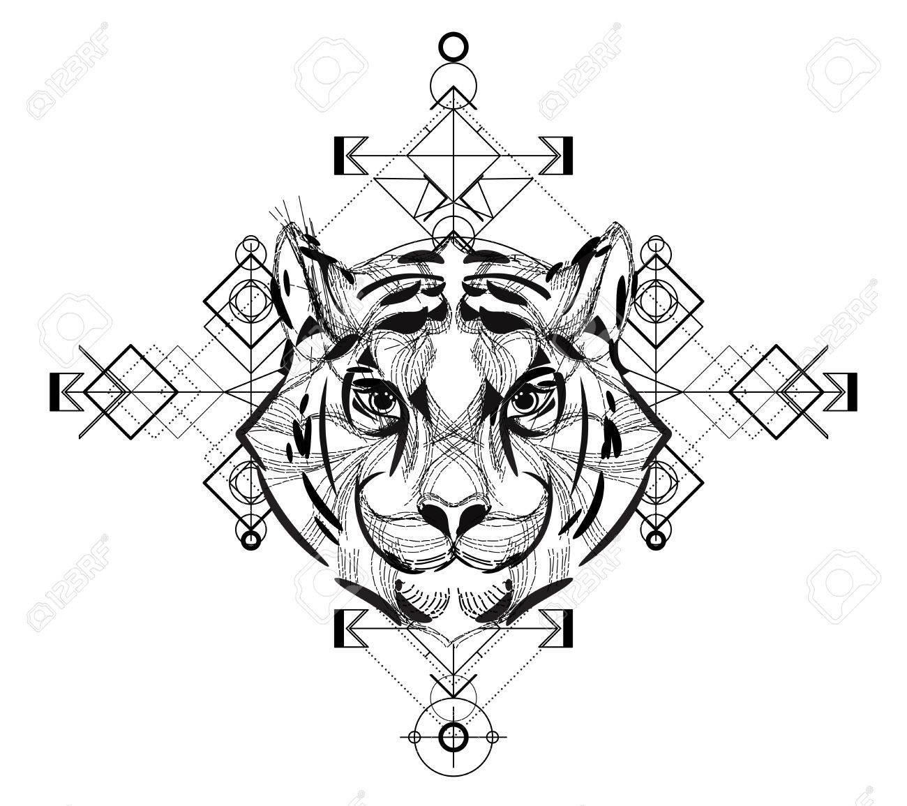 Tete D Animal Icone Triangulaire Conception De La Ligne A La Mode