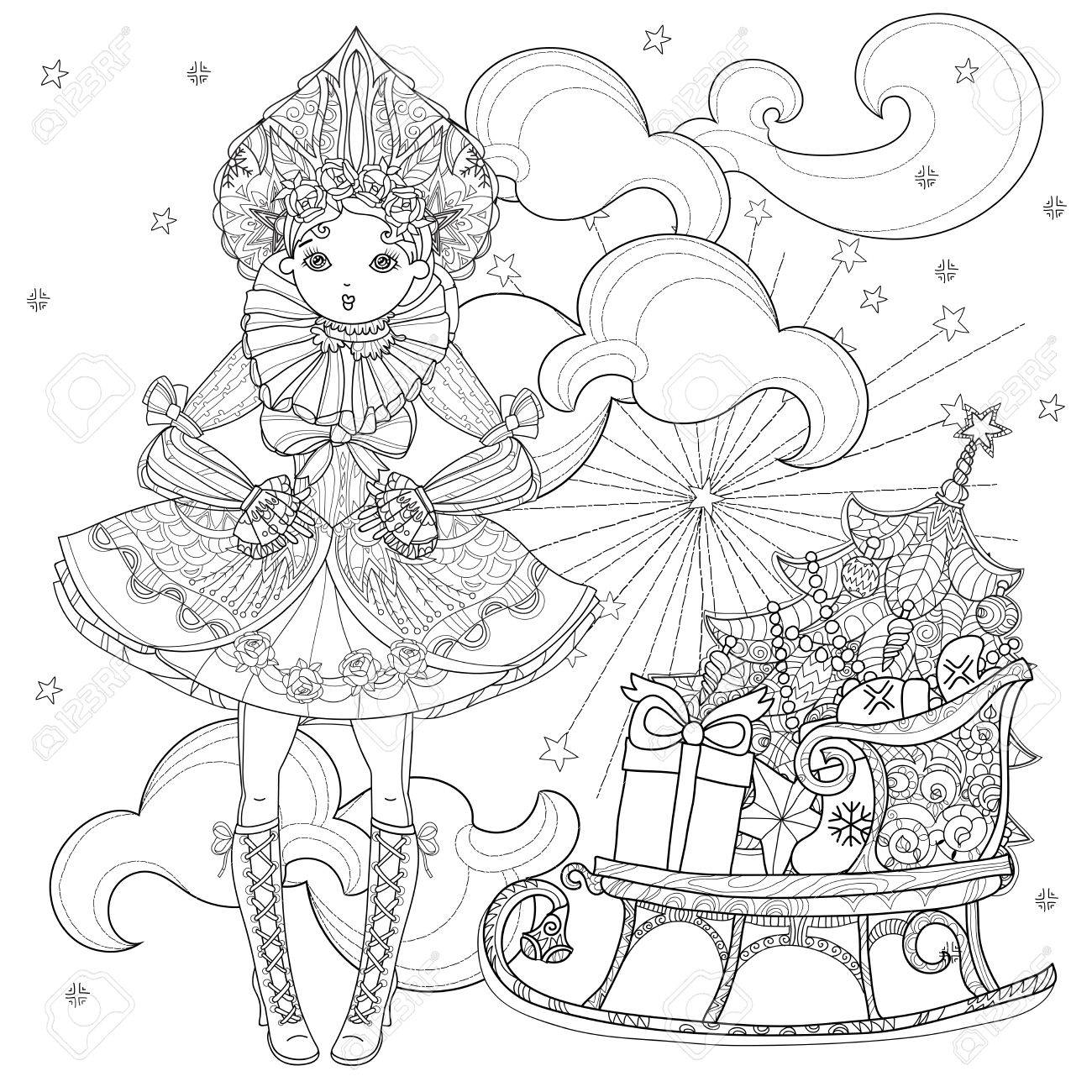 Vector Cute Fairy Gothic Lolita Girl In Nice Dress Near Christmas
