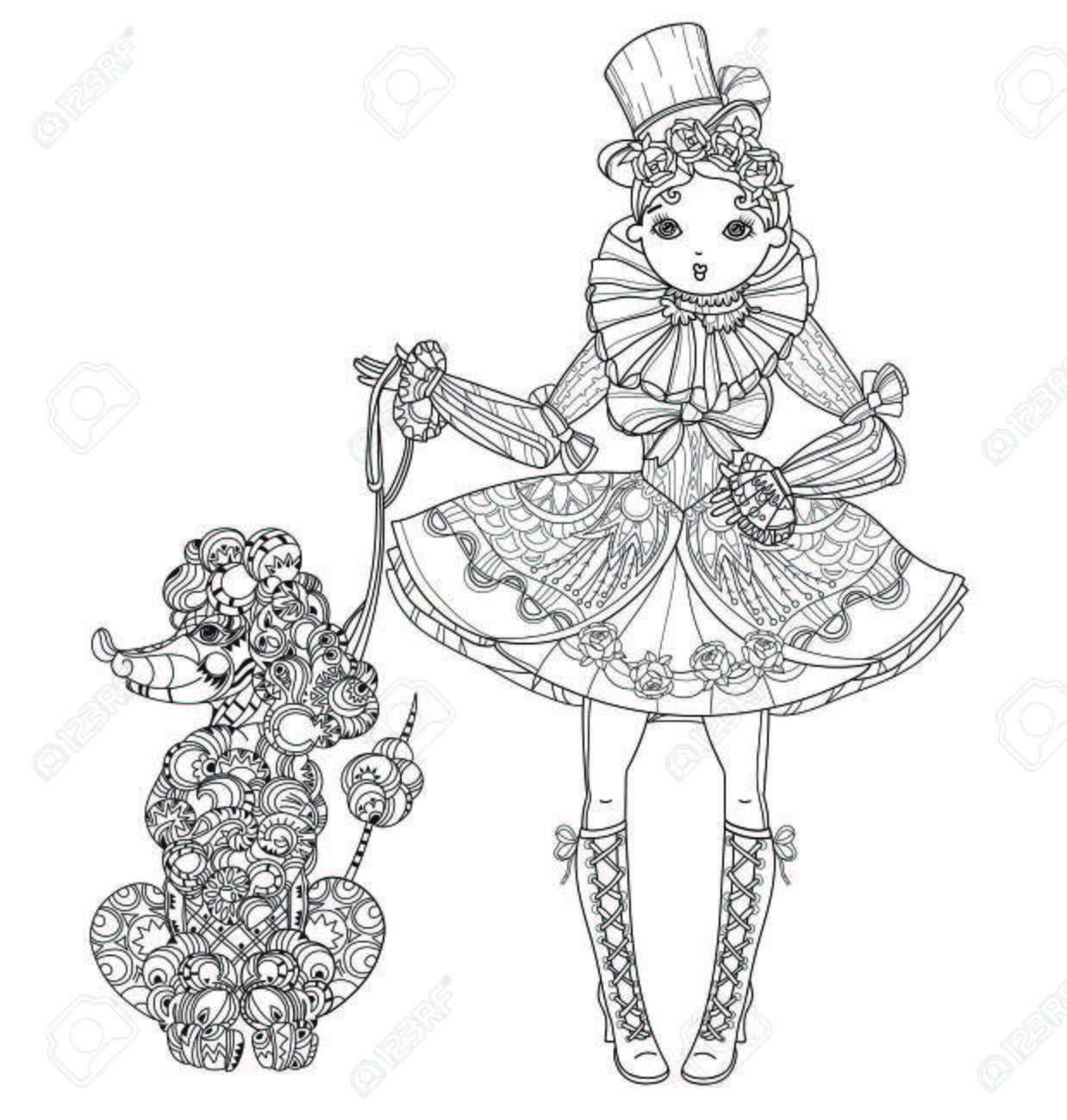素敵なドレスとプードルのかわいい妖精ゴシック ロリータ少女をベクトル