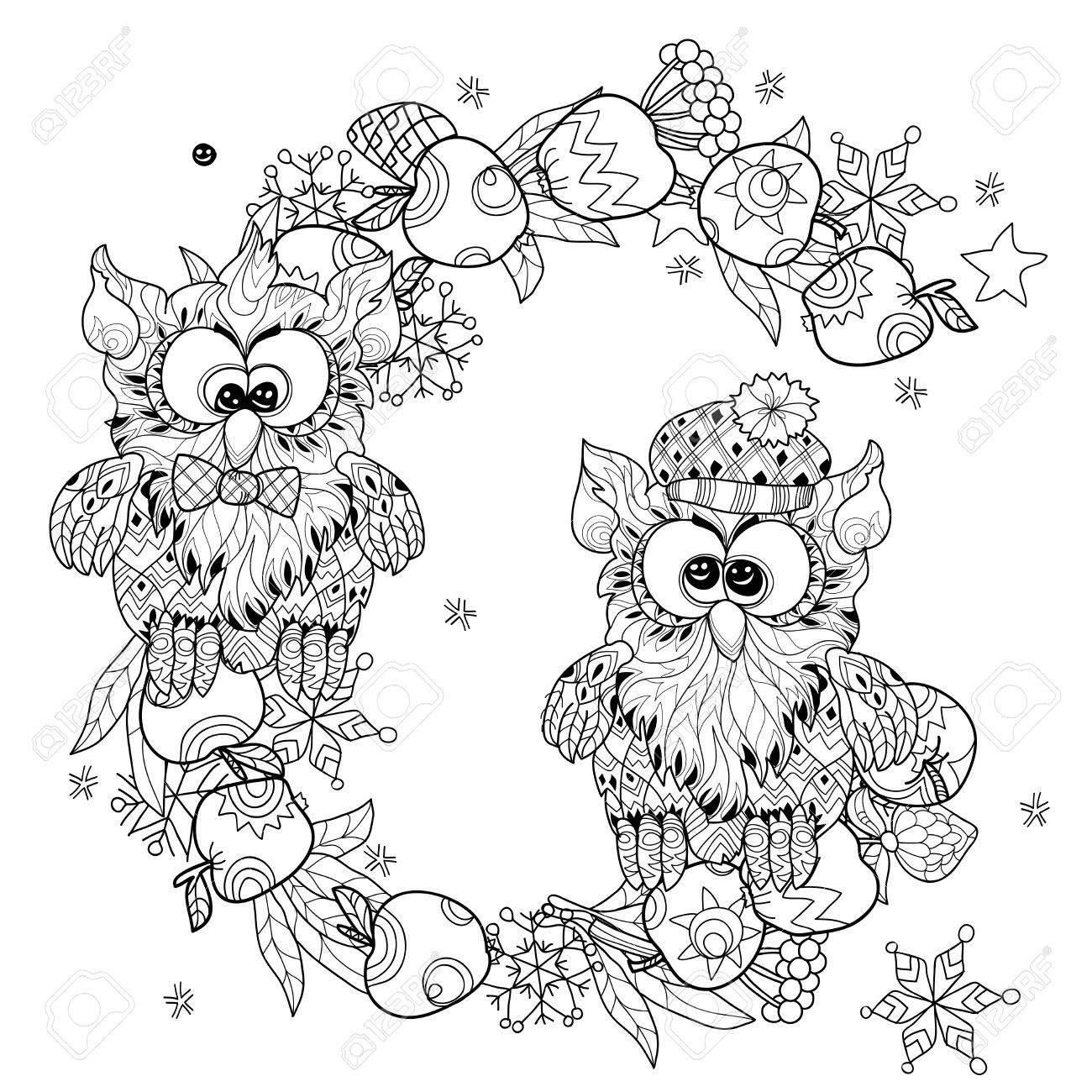 Pequeños Búhos En Dibujado A Mano Manzano Navidad Rama-vectorial ...