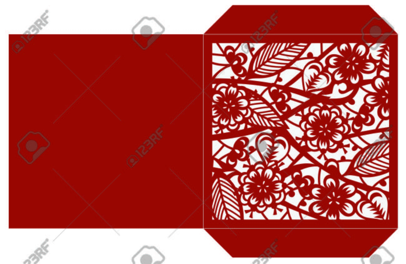Laser Cut Flower Pattern For Decorative Square Envelop Vector ...
