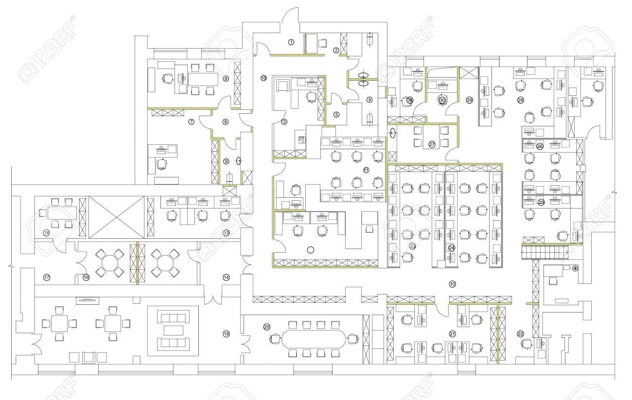 Standard office furniture symbols set - 68579828