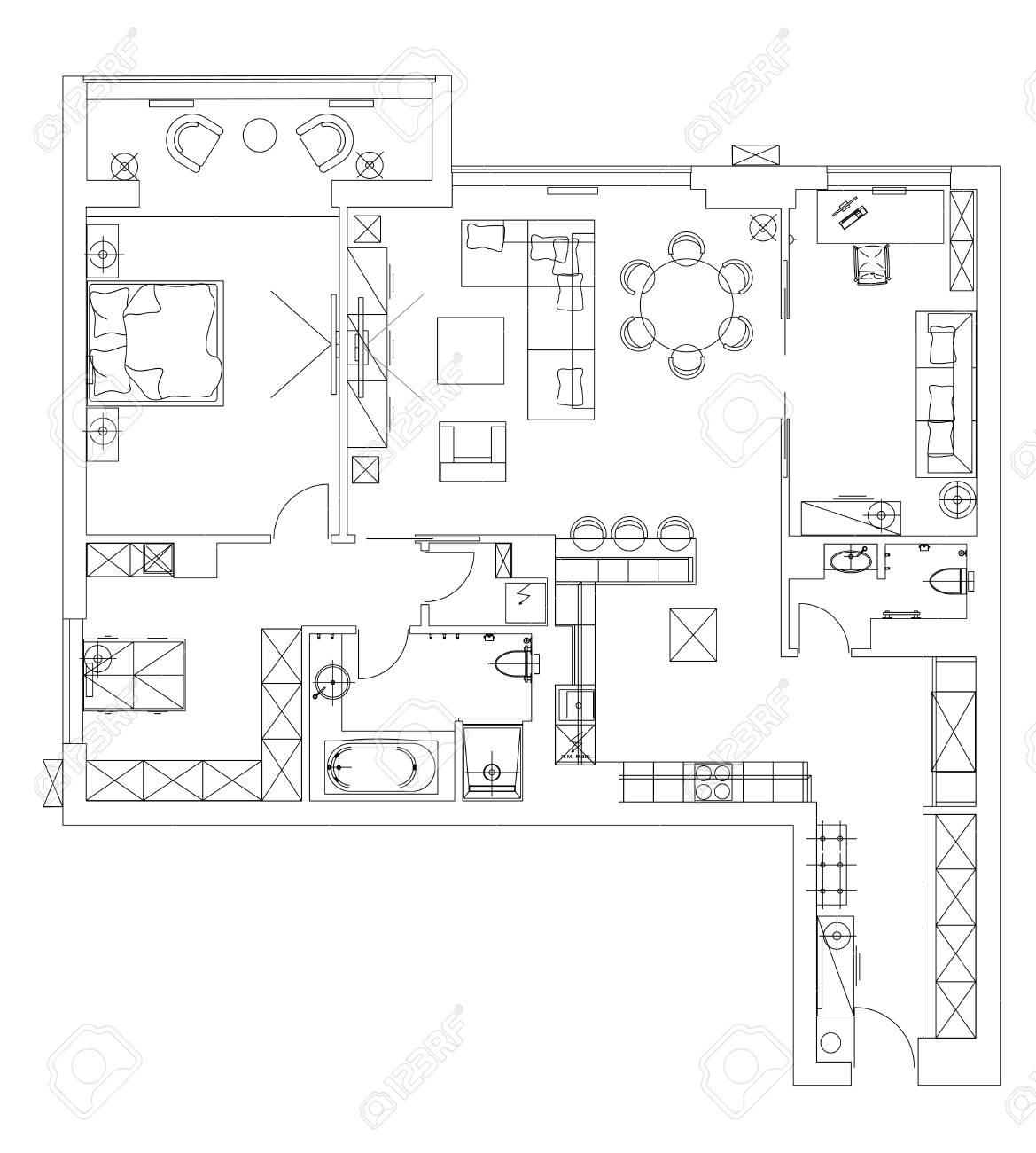 Standard Living Room Furniture Symbols Set