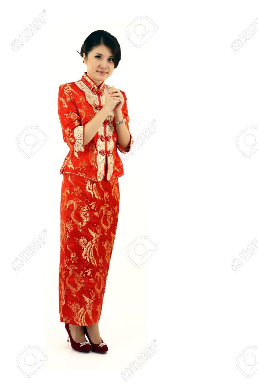 Mädchen Im Roten Kleid Chinesischen Grüße Frohes Neues Jahr ...