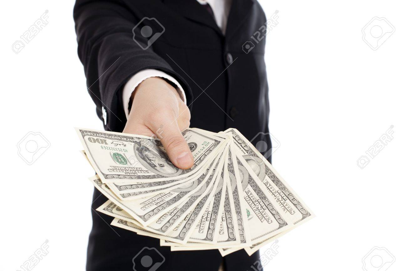 Money in human hands isolated on white background Stock Photo - 8783291