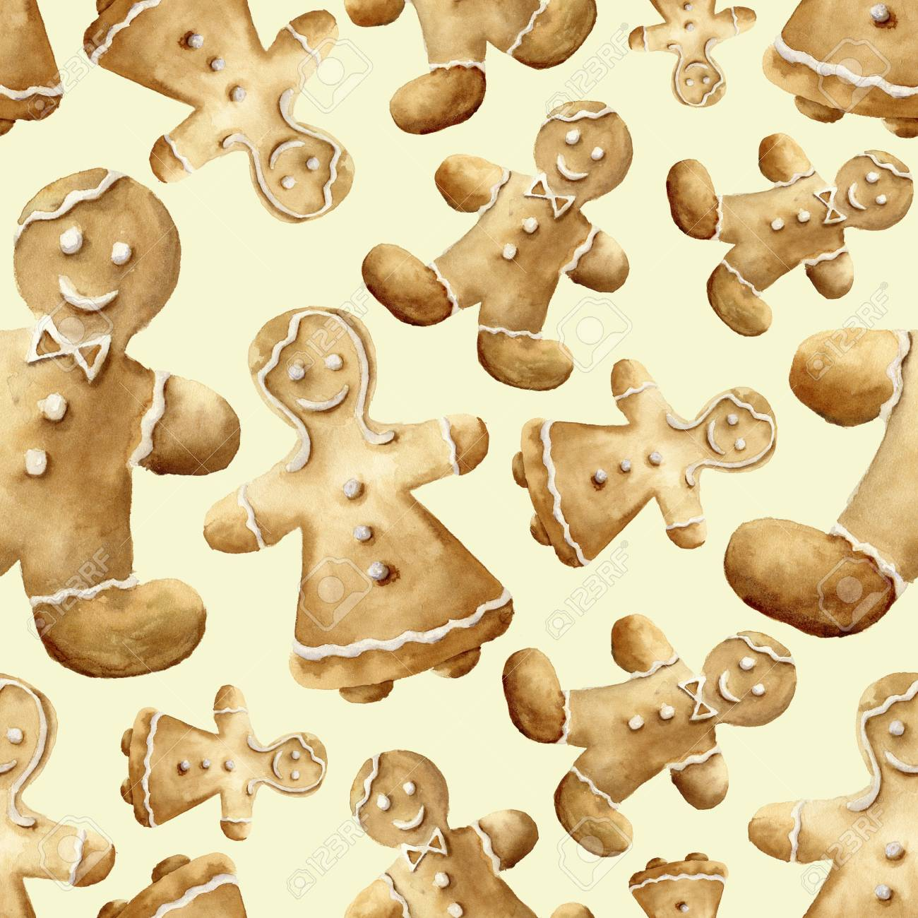 Watercolor Christmas Gingerbread Man Pattern Hand Painted