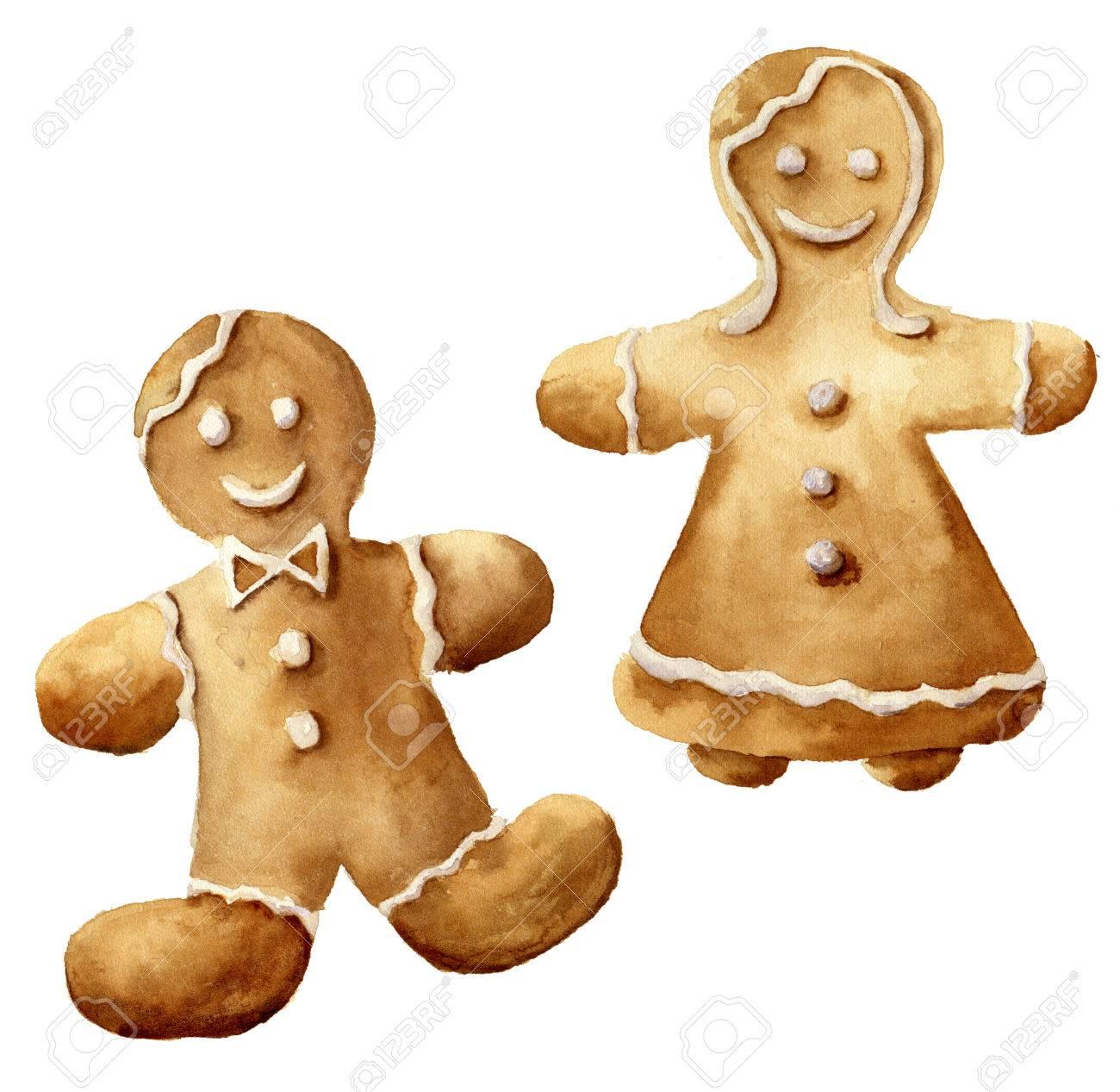 Watercolor Christmas Gingerbread Man Set Hand Painted Gingerbread