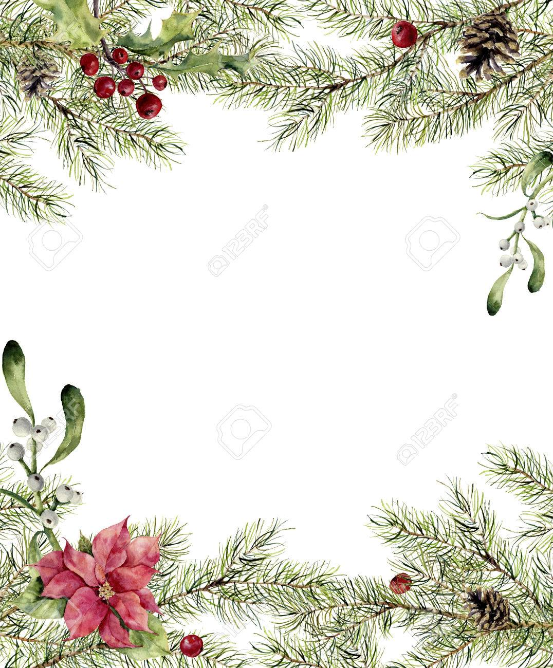 stock photo watercolor christmas invitation fir branch with holly mistletoe and poinsettia new year tree border with decor for design