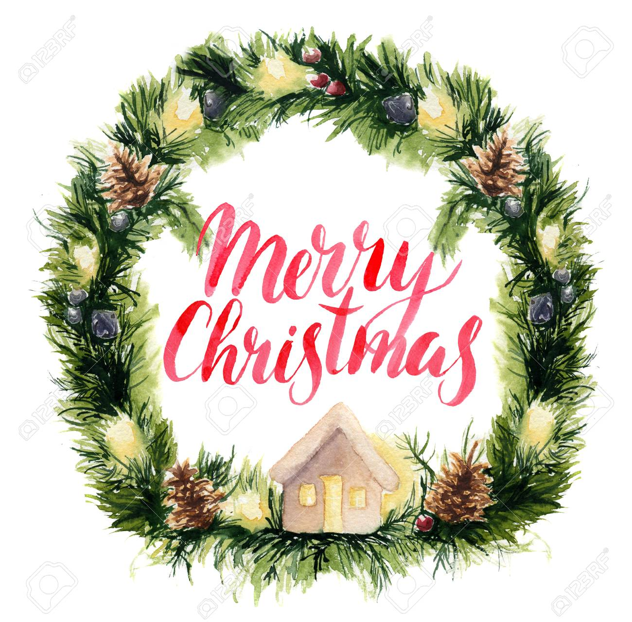Watercolor Christmas Wreath Card With Merry Christmas Lettering