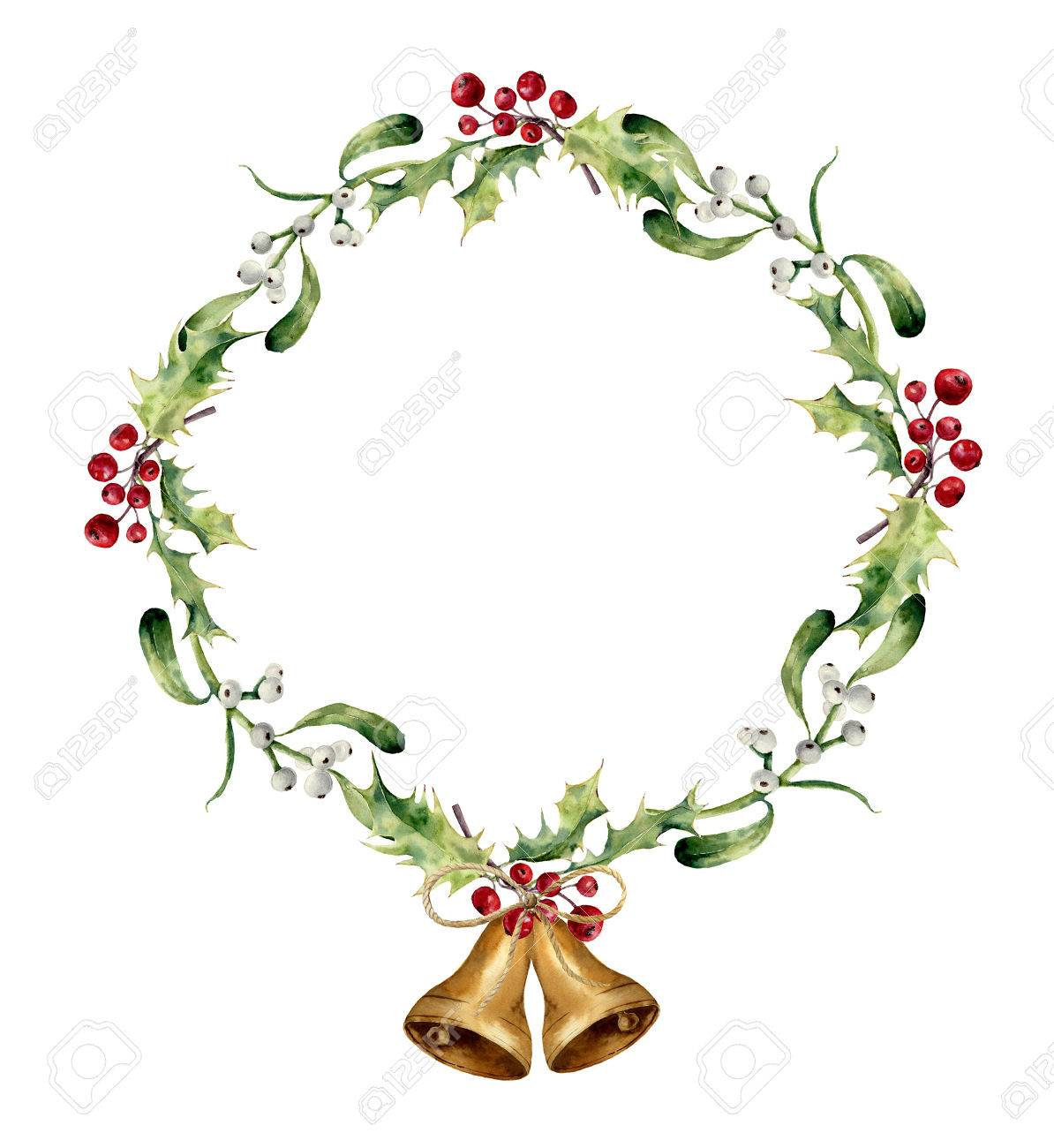 Christmas floral border stock photos freeimages com - Watercolor Christmas Wreath With Bells Holly And Mistletoe Hand Painted Christmas Floral Border Isolated