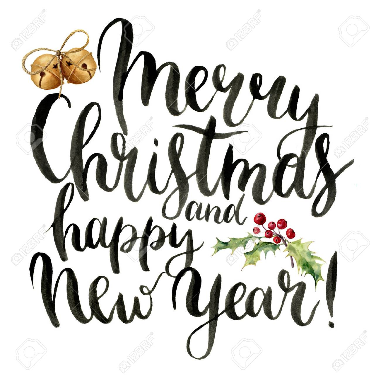 watercolor print witn merry christmas and happy new year lettering stock photo picture and royalty free image image 68959009 watercolor print witn merry christmas and happy new year lettering