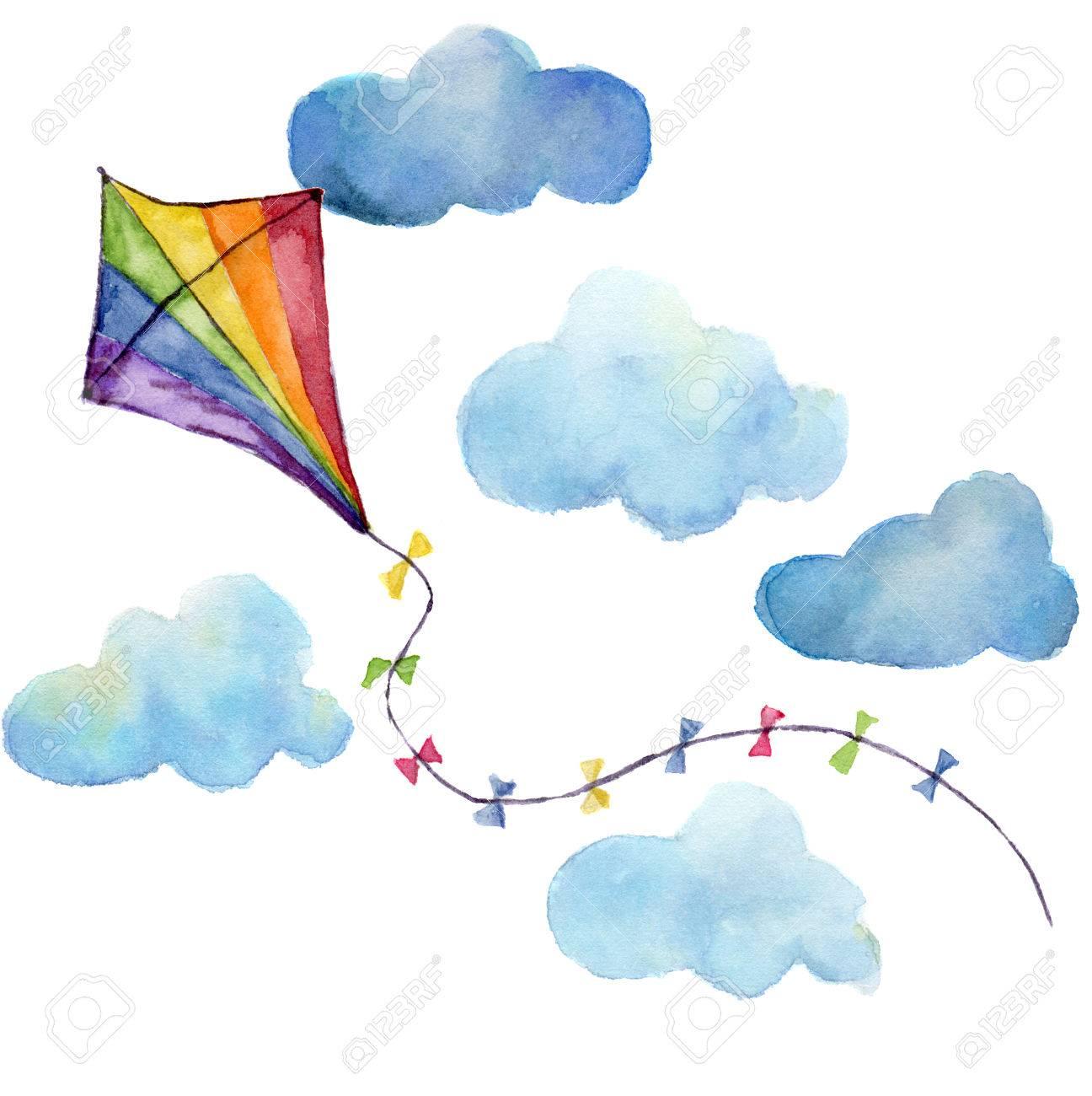 水彩画は凧セットをストライプ化されます手描き雲とレトロなデザイン
